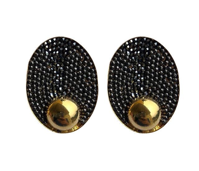Oval Hematite Golden Earrings