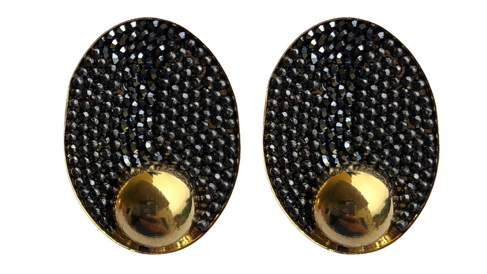 Oval Hematite Golden Earrings