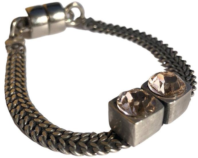 Rose Crystal Silver Bracelet