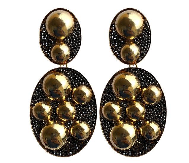 Double Oval  Golden Earrings
