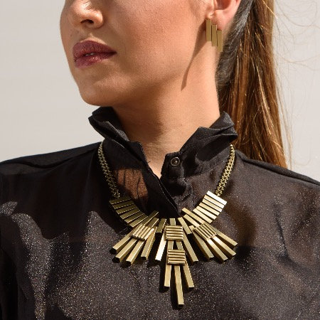 Golden Flat Texture Triangle Necklace