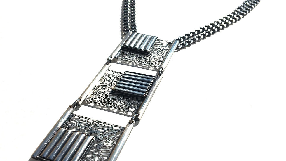 Silver Square Texture Necklace