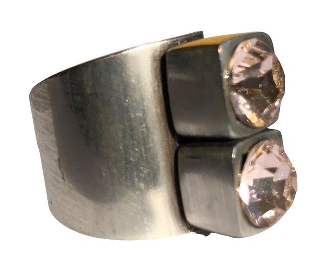 Rose Crystal Silver Ring