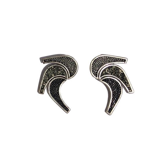 Brass Matte Crystal Earrings