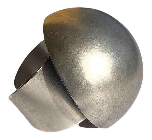Silver Brass Matte Ring