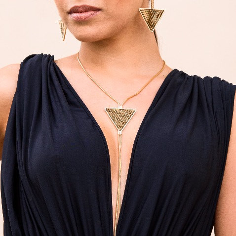 Golden Triangle Long Necklace