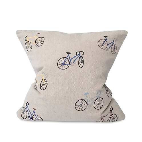 BICYCLES EMBROIDERED CUSHION