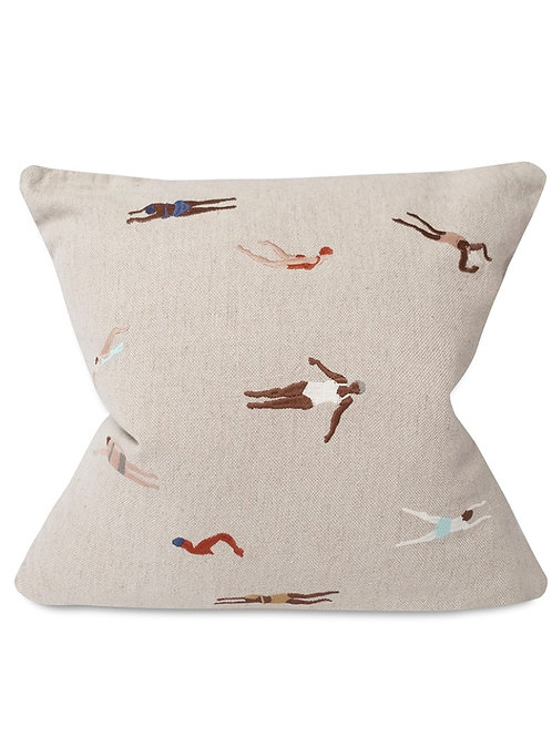 SWIMMERS EMBROIDERED CUSHION