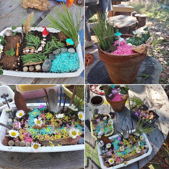 Réalisation de petits mini-monde avec les enfants au cmub nature