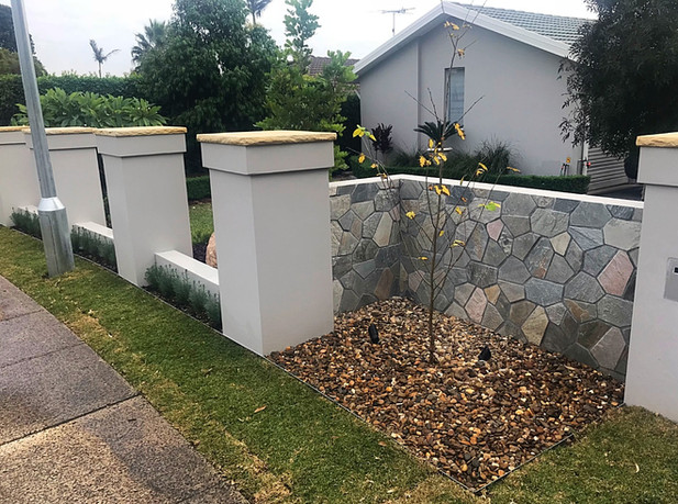 Block fence with piers & infills