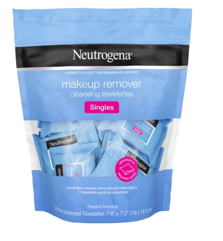 Picture of a bag of singles neutrogena makeup remover