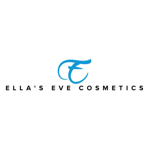 Logo of Ella's Eve Cosmetics with black bold letter and a big cursive blue e in the middle