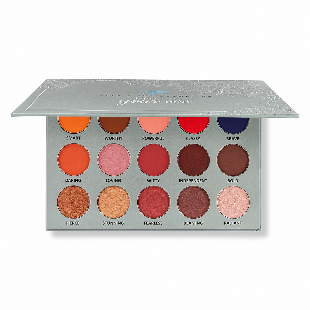 picture of 15 eyeshadow palette. paltte is grey color with a floral design on the cover along with the logo of ellas eve cosmetics.
