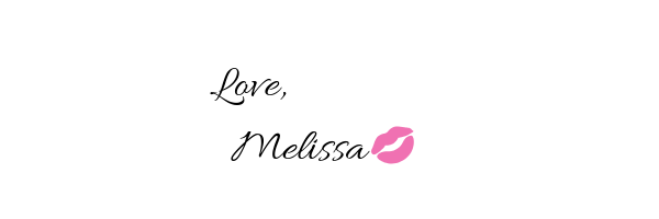 author's signature that reads love melissa with pink lips shape next to name.