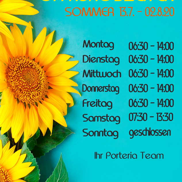 Öffnungszeiten Sommer