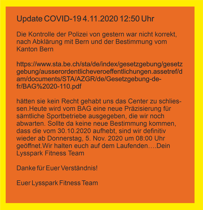 Update COVID-19 / 4.11.2020 – 13:00 Uhr