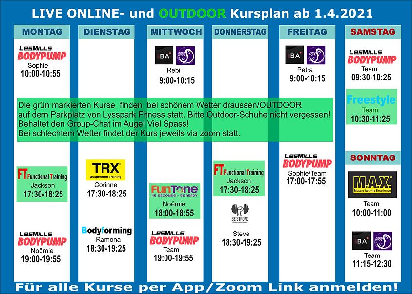 Group-Fitness KURSPLAN 2021, Live-Online @home Training, Outdoor Trainig