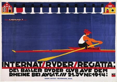Plakat für die internationale Ruderregatta auf dem Rhein bei Augst von 1914 (Museum für Gestaltung Zürich, Plakatsammlung, Zürcher Hochschule der Künste