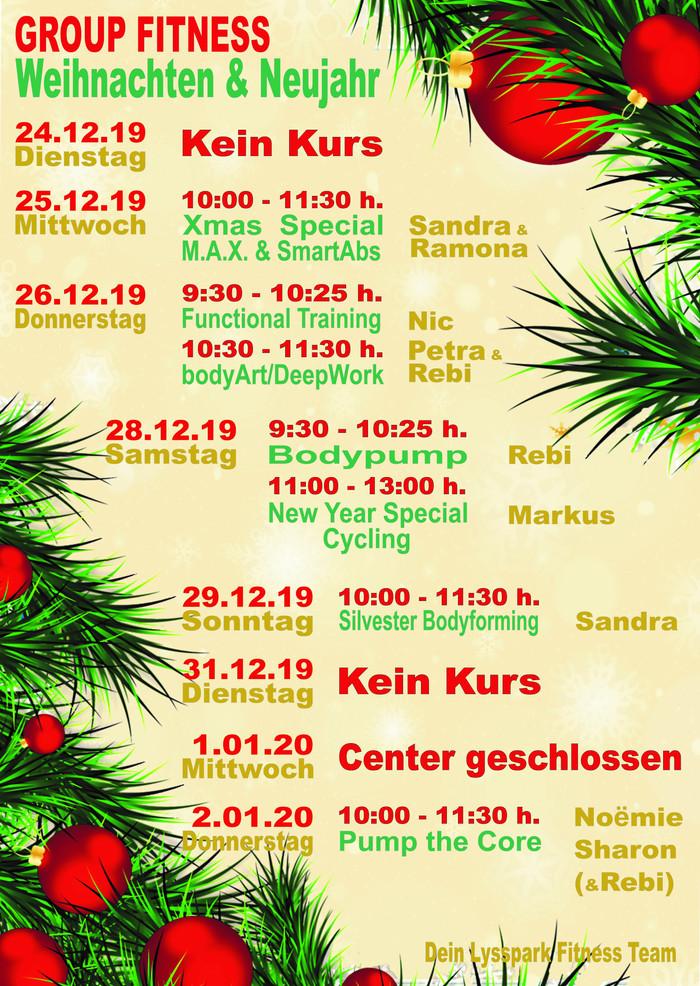GROUP FITNESS Weihnachten &                      Neujahr Kursplan