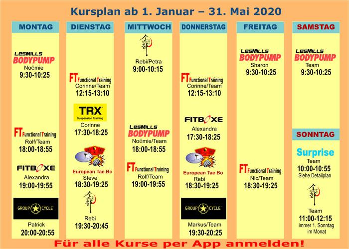 Group Fitness Kursplan 01.01.-31.05.2020