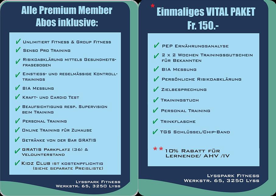 PREISLISTE LYSSPARK Premium Member monatliche und Premium Member Jahreszahlung inkl. Vital Paket haben Sie hier zu wählen