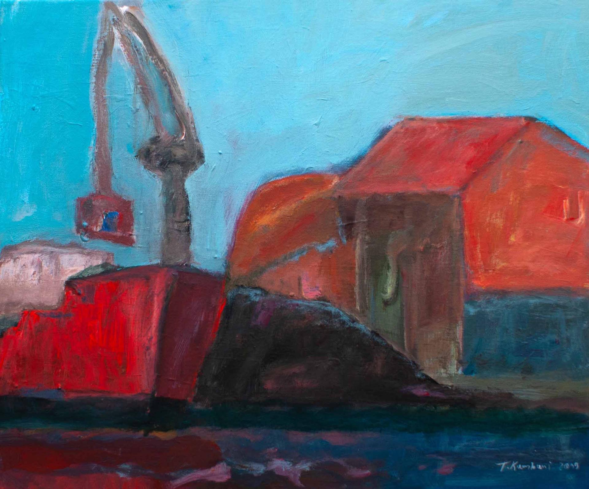 Bateau et grue à Port-la-Nouvelle