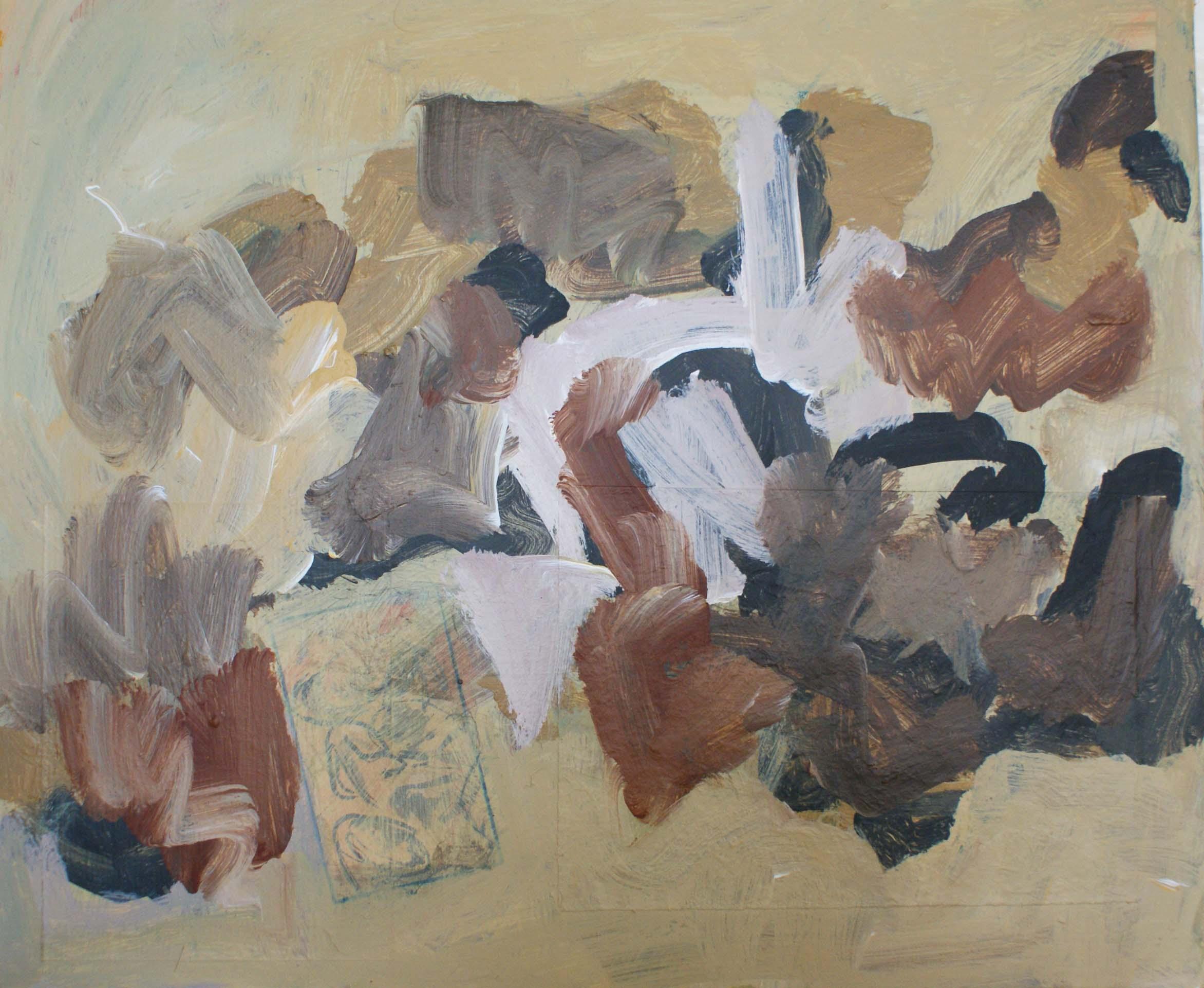 pierres et mer ochre, 2016, 55x45,5 acrylique sur toile sm
