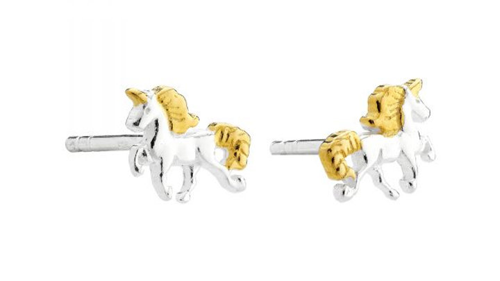 Gold Unicorn Stud Earrings
