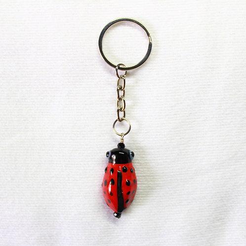 Lampwork Ladybug Keychain