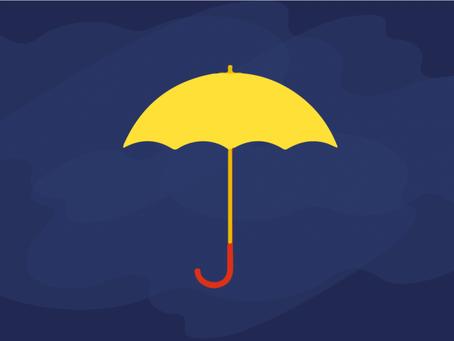 Advogado Especializado: guarda-chuva amarelo em meio à estatística