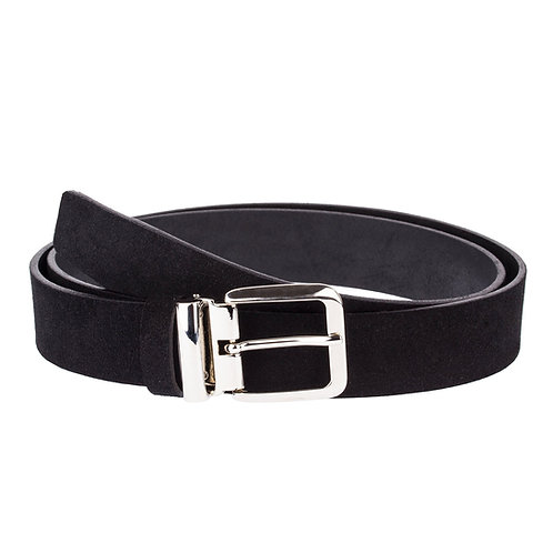 Classic buckle suede black belt