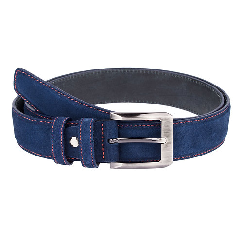 Navy Suede Red thread belt