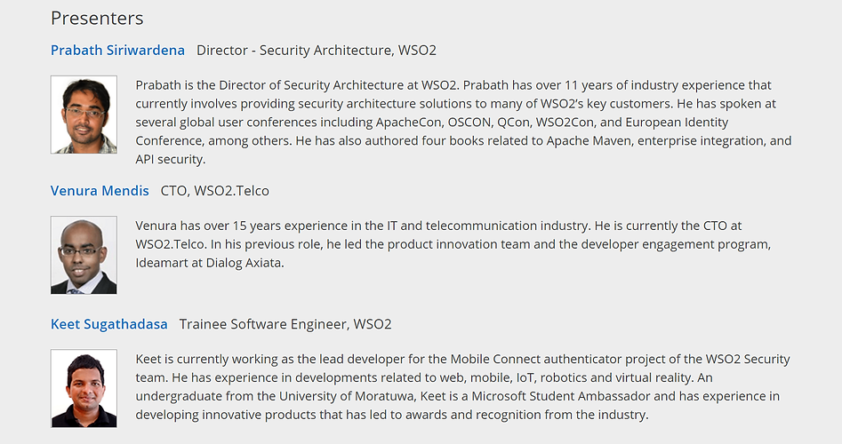 WSO2 Webinar Securing Access to SaaS Apps with GSMA Mobile Connect Presenters