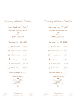 Wedding Welcome Itinerary