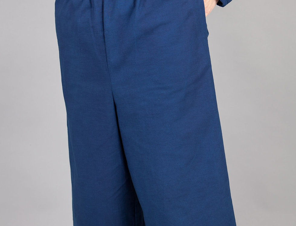 Indigo Dyed Wide Leg Trousers