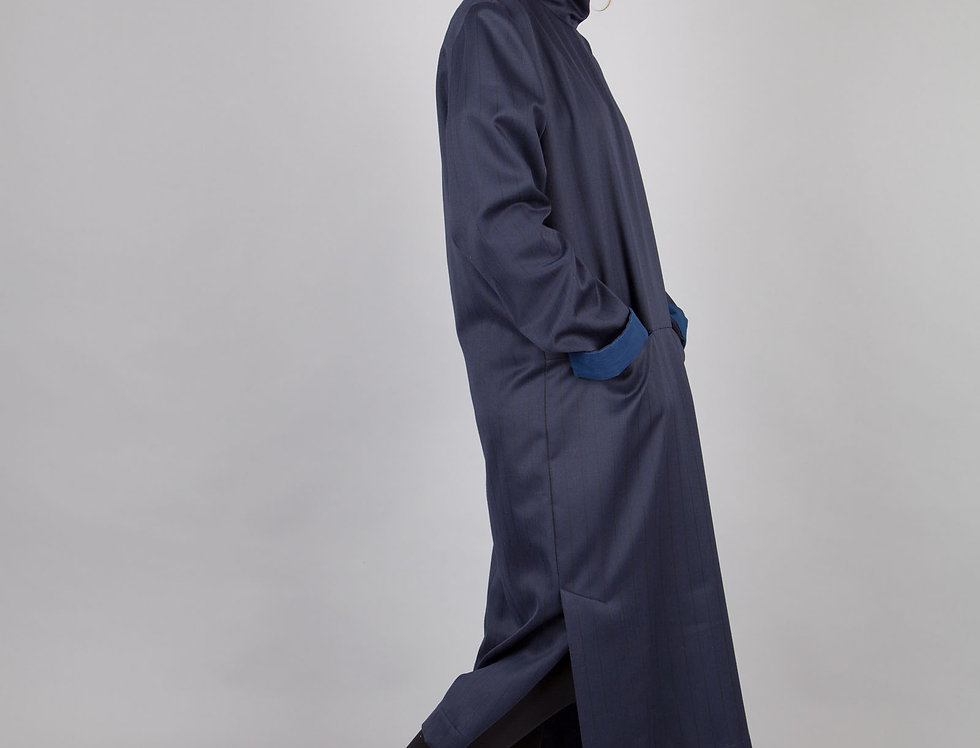 Oversized High Neck Wool Dress