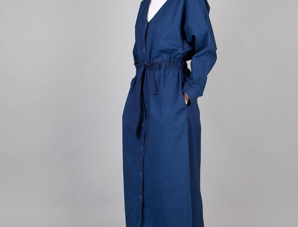 Indigo Dyed Shirtdress