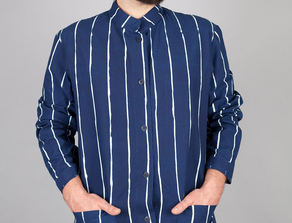 Stand up Collar Striped Shirt