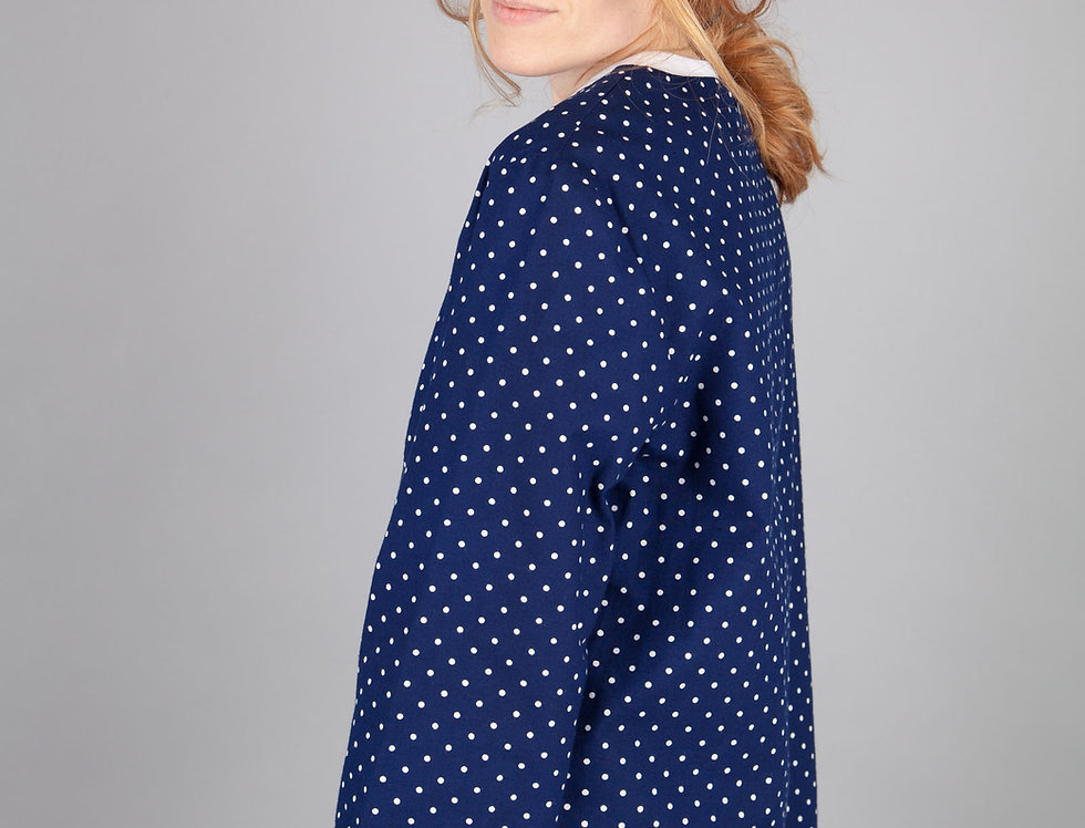 Round-Neck Dot Print Blouse