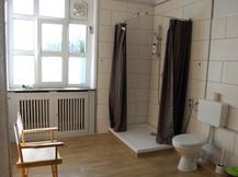 Badezimmer mit großer Dusche und Toilette
