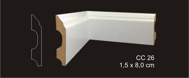 Rodapé 8cm CC 26 Branco I Preço R$ 32,00 por Barra com 2,40ml