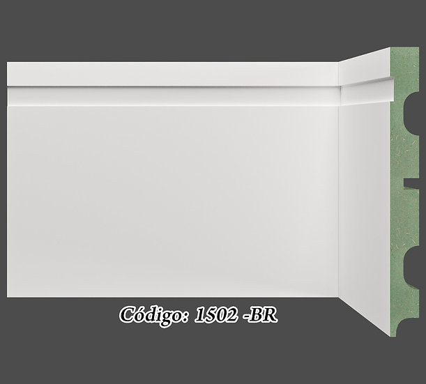 Rodapé 15cm Reto Com 1 Friso Branco I Preço R$ 58,00 por Barra com 2,40ml