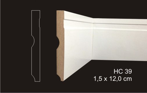 Rodapé 12cm Reto 1 Friso Largo HC39 Branco I Preço R$ 47,00 por Barra com 2,40ml