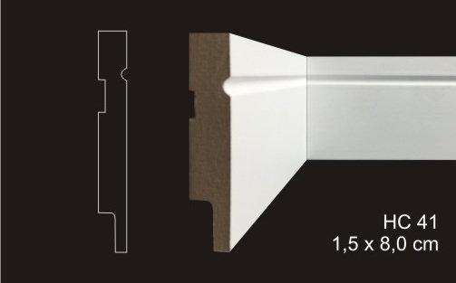 Rodapé 8cm Reto Com 1 Friso HC 41 Branco I Preço R$ 36,00 por Barra com 2,40ml