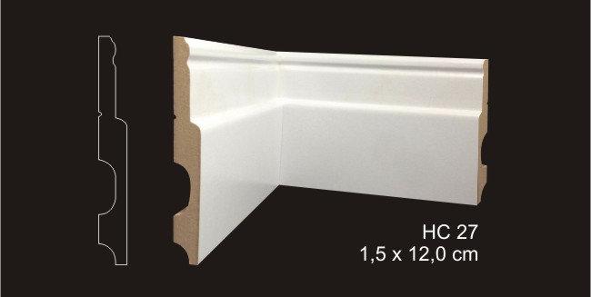 Rodapé 12cm Clássico HC 27 Branco I Preço R$ 47,00 por Barra com 2,40ml