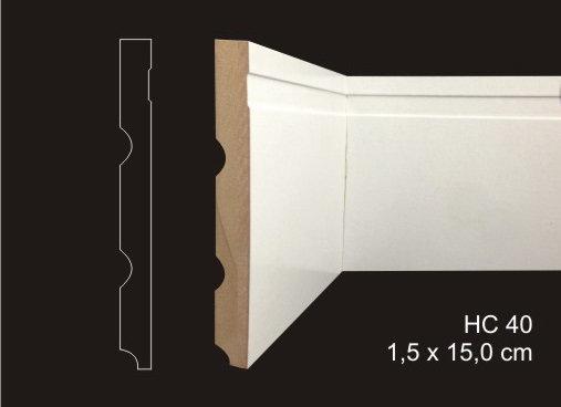 Rodapé 15cm Reto 1 Friso Largo HC40 Branco I Preço R$ 59,00 por Barra com 2,40ml