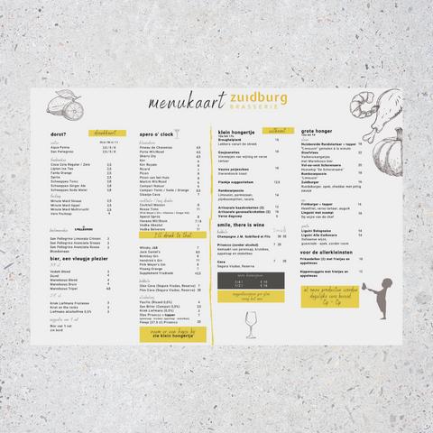 menukaart Brasserie  Zuidburg