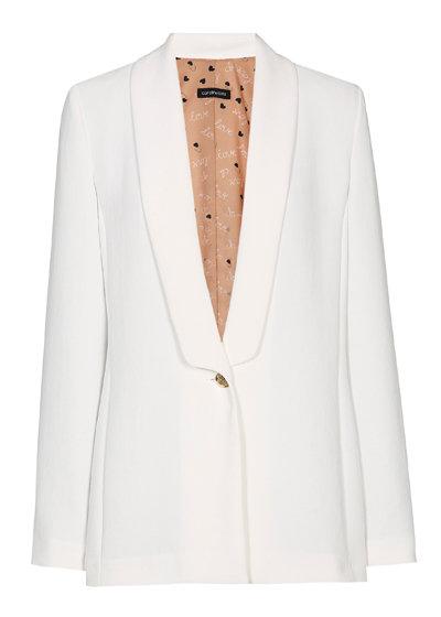 Caroline Biss - lang soepel blazervestje - off white