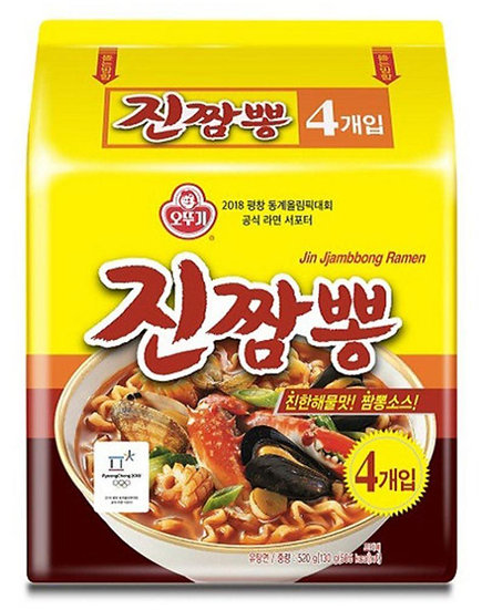 Jin JJAMBBONG (spicy seafood noodle soup) 4pcs, 오뚜기 진짬뽕 4개입