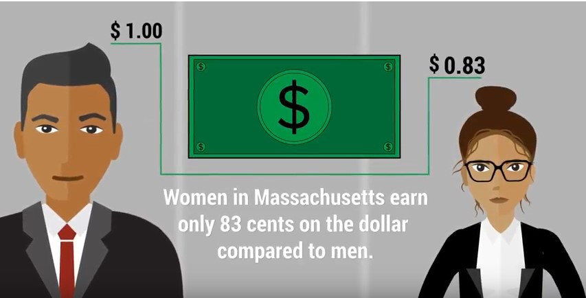 "Illustration depicting two professionals, one male and one female. Text reads ""Women in Massachusetts earn only 83 cents on the dollar compared to men."""